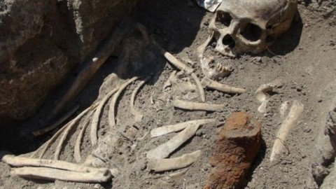 Rare skeleton of 'vampire' discovered in Britain with spikes through shoulders, heart and ankles